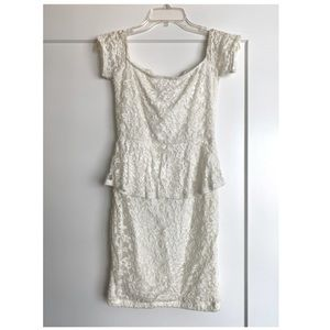 TOBI White Lace Peplum Cocktail Dress
